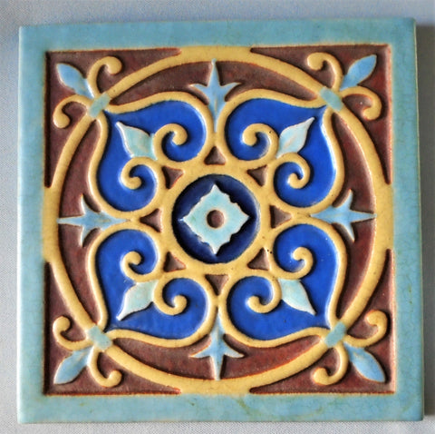 Franklin Pottery Gothic Revival Tile 401 Spanish Bungalow Bill Antique