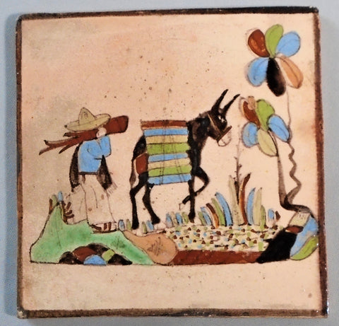 Mexican Tlaquepaque Tile Man and Burro Bungalow Bill Antique