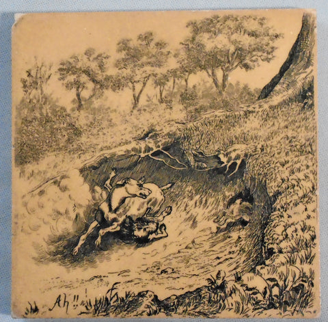 "Rabbit Hunt ""Ah!"" By International Tile Co Brooklyn NY Bungalow Bill Antique"