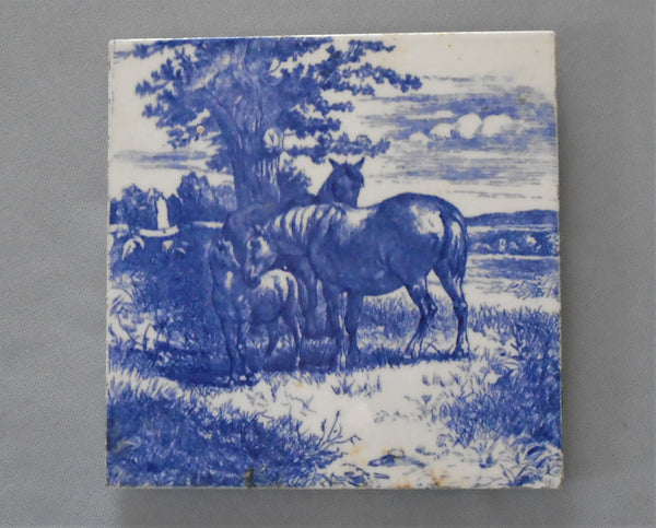 Minton Tile Trivet Animals of the Farm Series, Horses in Blue and White Bungalow Bill Antique