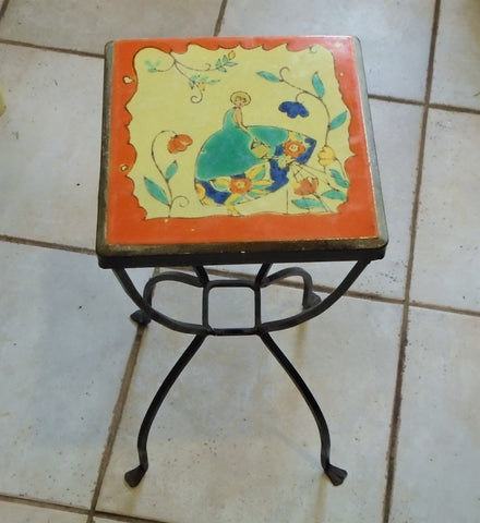 D & M California Art Deco Tile and Iron Table Girl in a Garden Bungalow Bill Antique