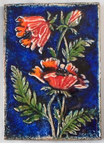 Karlsruhe Majolica Tile Red Poppies Bungalow Bill Antique