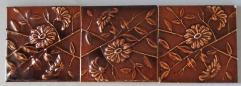 Three Antique Tiles of Flowers by Hamilton