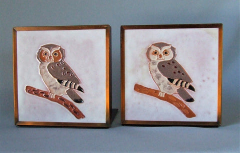 McKusick Gila Pottery Owl Tile Bookends Desert House