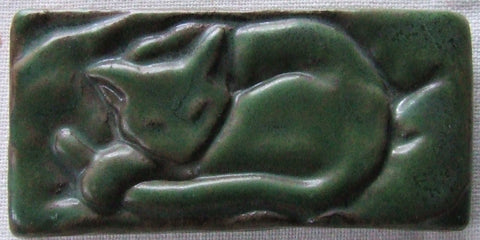 Pewabic Pottery Cat Tile Paperweight