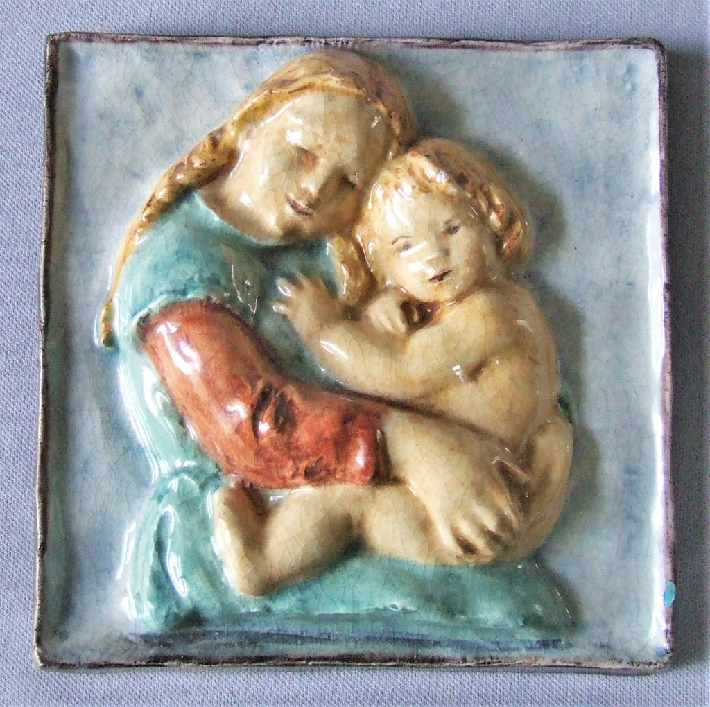 German art deco tile plaque mother and child