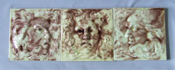 Antique Tile North Wind Faces by the International Tile and Trim Co of Brooklyn NY (1882 - 1888).