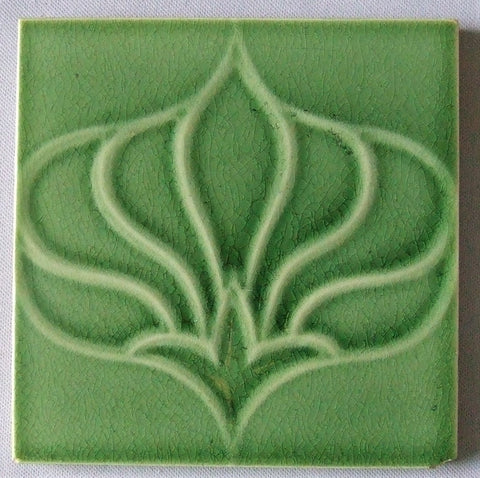 Antique Art Nouveau Tile Green Flower