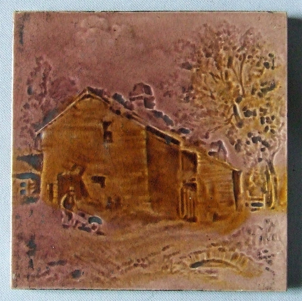 Antique Tile English Landscape Farm Scene