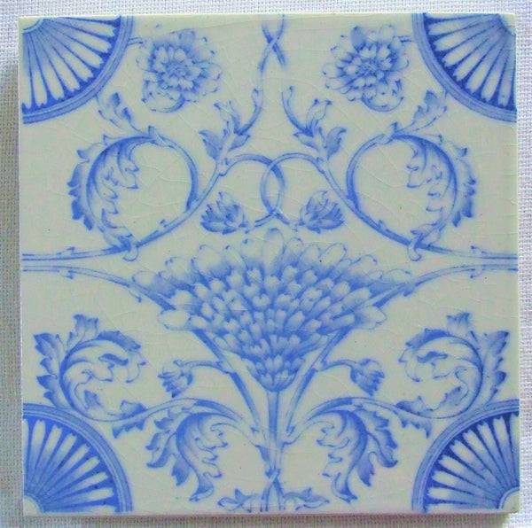 Antique tile blue and white england