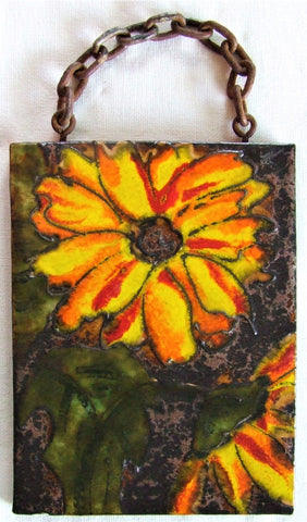 Ruscha West German Pottery Tile Flower