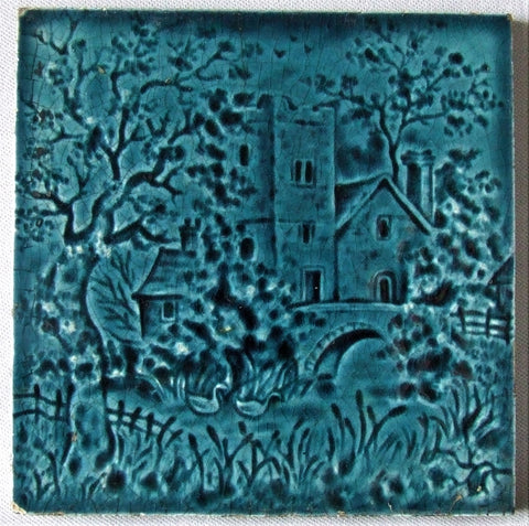 Antique English Tile Stone House in a Garden Landscape