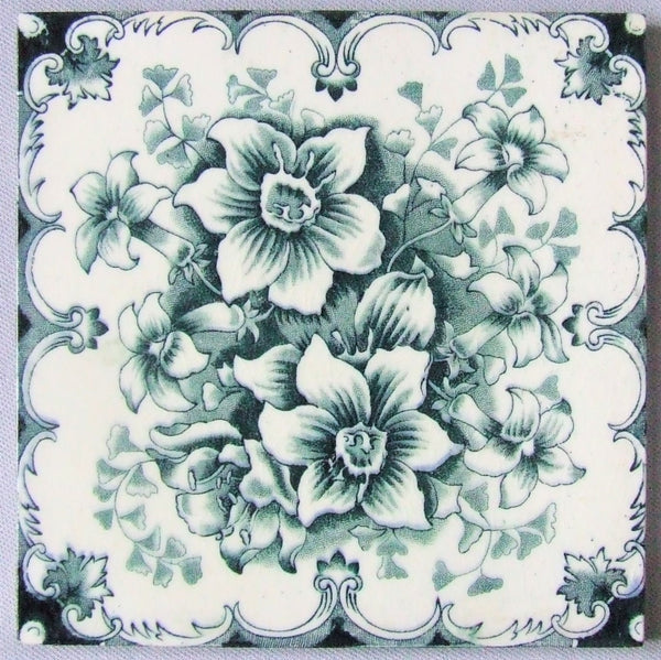 Blue & White English Transfer Tile Sherwin Cotton