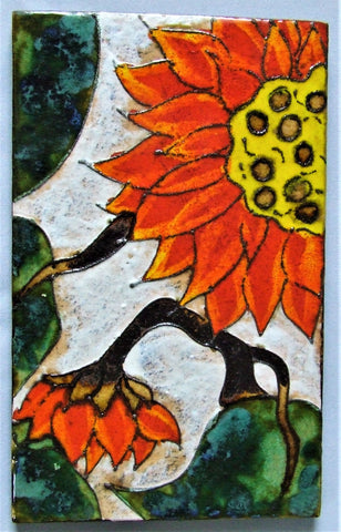 Ruscha Sunflower Wall Tile Plaque MCM