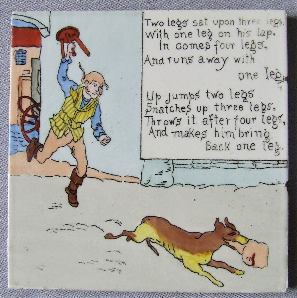 American Encaustic AETCO Tile Nursery Rhyme Two Legs Sat Upon Three Legs