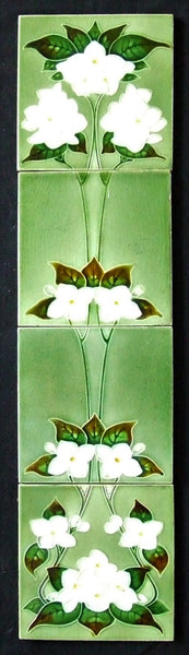 antique fireplace tile panel dogwood flowers alfred meakin