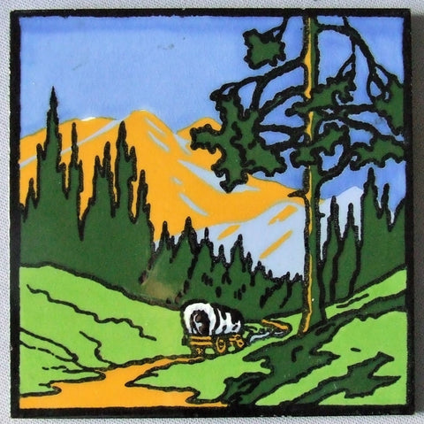 Dec Art Tile Covered Wagon in Mountain Landscape