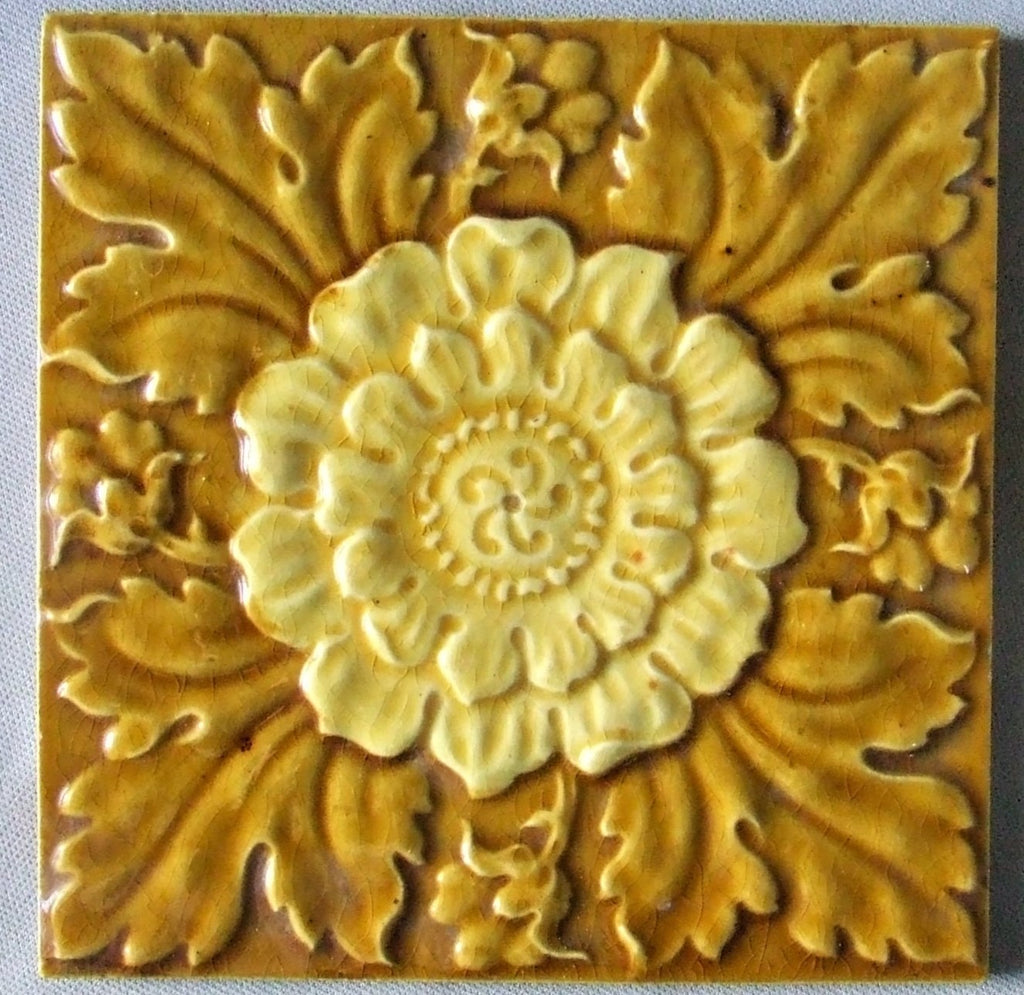 J Barratt English Majolica Tile Chrysanthemum