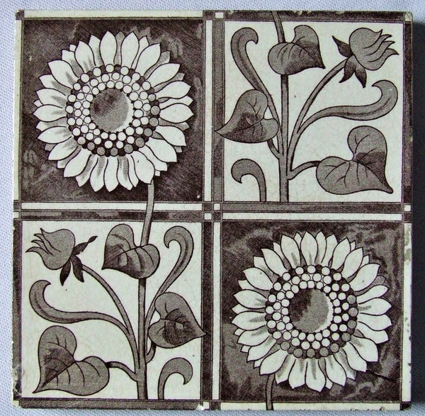 Mintons English Arts and Crafts Sunflower Tile