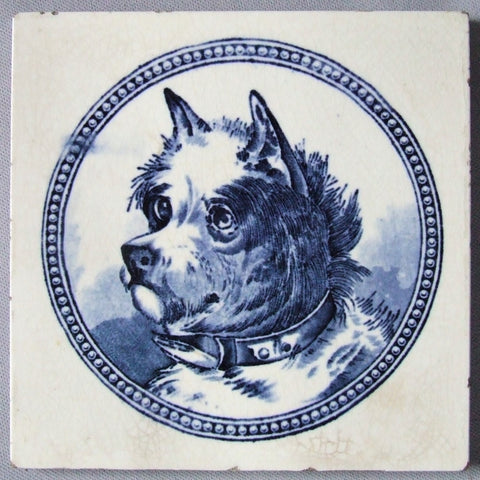 American Encaustic Tile AETCO Blue White Dog
