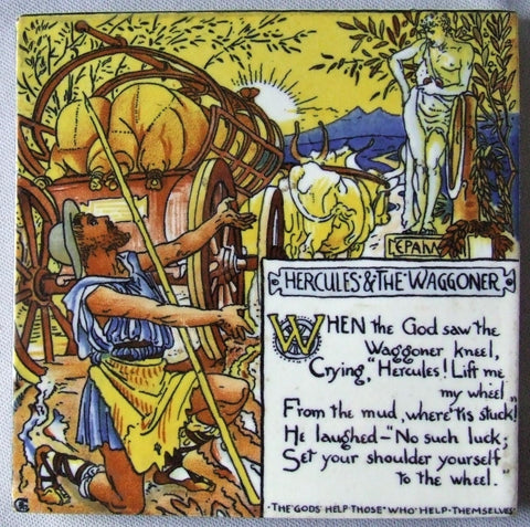 Walter Crane Nursery Rhyme Trivet Hercules and the Waggoner AETCO Advertising