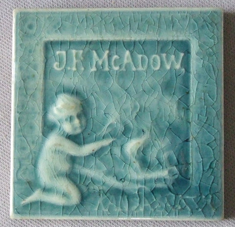 Advertising Stove Tile AETCO Fireplace J.F. McAdow Kansas City