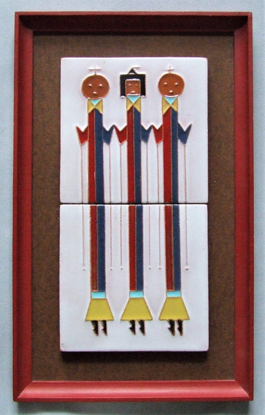 McKusick Gila Pottery Tile Panel Yei Dancers