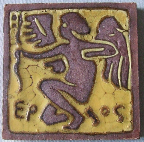 Grueby Pottery Faience Tile Eros
