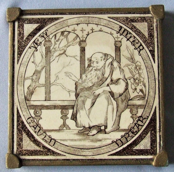 English Transfer Picture Tile Trivet Bungalow Bill Antique