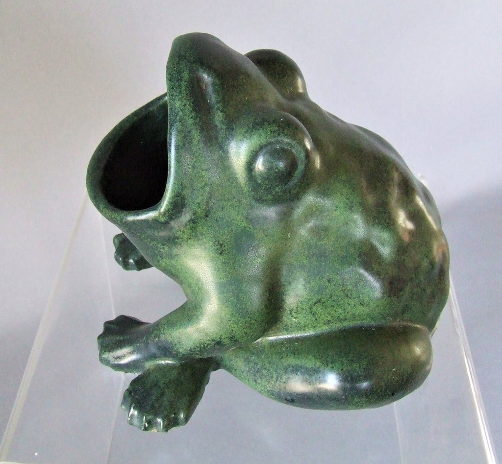 Chicago Crucible Art Pottery Verdigris Matte Green Frog Spoon Warmer Bungalow Bill Antique