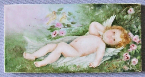 China Painting Tile American, Angel Cherub Roses