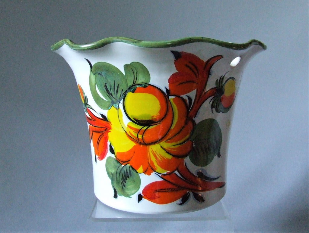 Italian Pottery Hanging Basket Cachepot Hand Painted Burnt Orange Flowers Bungalow Bill