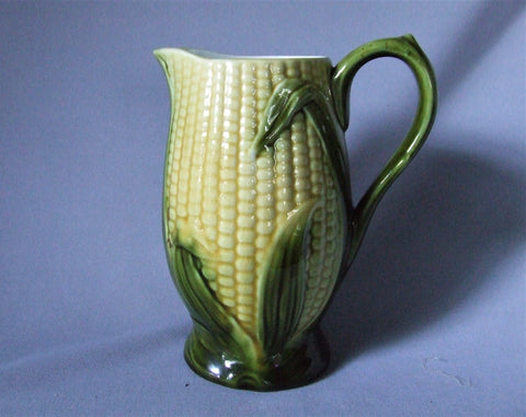 Vintage Majolica Corn Pitcher Bungalow Bill Antique