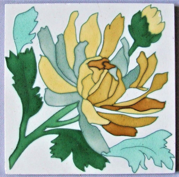 Sarreguemines Art Nouveau Tile Bungalow Bill Antique