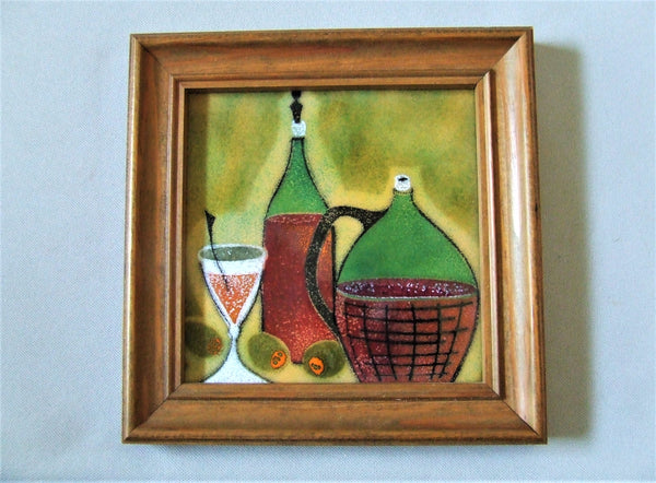 Italian enamel painting Bungalow Bill antique tile