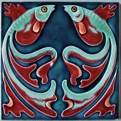 German Art Nouveau Tile Jugendstil Goldfish Villeroy and Boch BungalowBILL