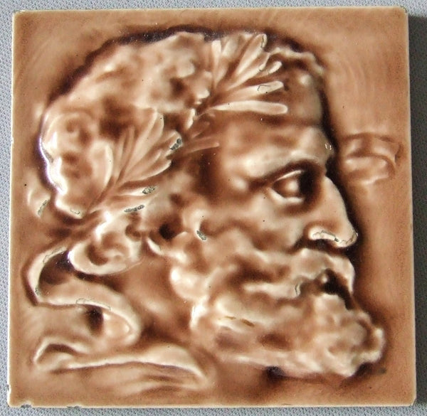 J & J G Low Art Tile Portrait Antique Tile Bungalow Bill