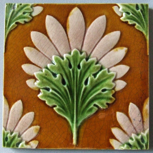 Antique English Art Nouveau Majolica Tile Bungalow Bill