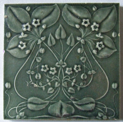 Art Nouveau Flower Tile Gilliot et Cie Heimixen Belgium Bungalow Bill