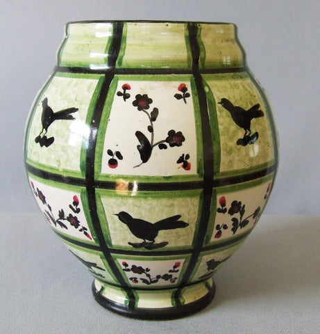 Art Deco Italian Art Pottery Vase G. G. & Co Birds Flowers Garden Trellis 1930's