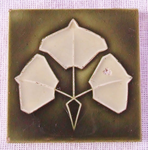 Antique European Art Nouveau Tile Jugendstil Vintage Secessionist Leaves