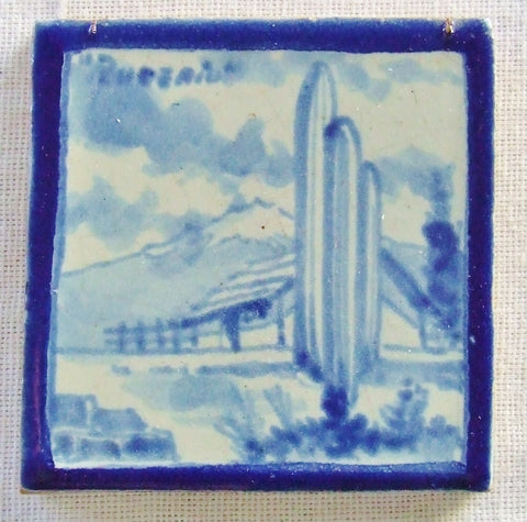 Vtg Rugerio Art Tile Mexican Landscape Blue and White South Western Cowboy Ranch