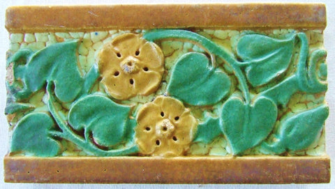 Lrg Grueby Pottery Architectural Tile Brick Flowers Leaves Vintage Antique