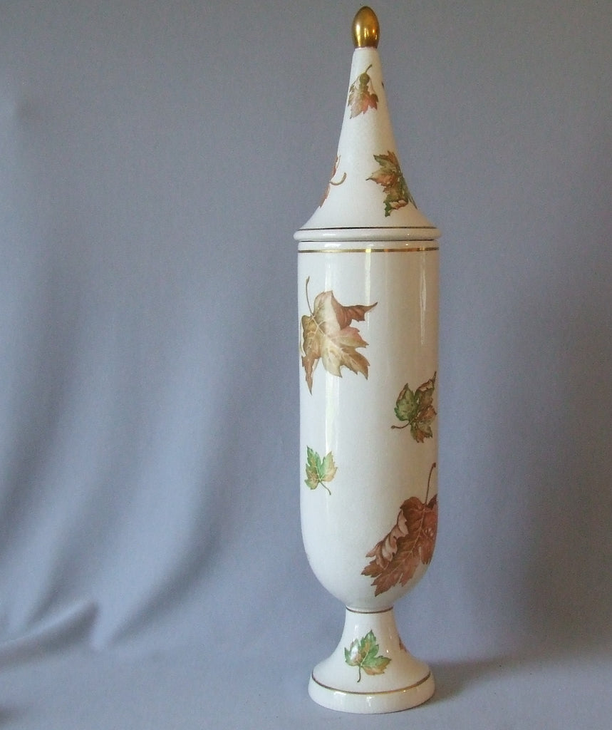 Tall Deruta Italian Art Pottery Covered Jar Maple Leaves Hollywood Regency Gold