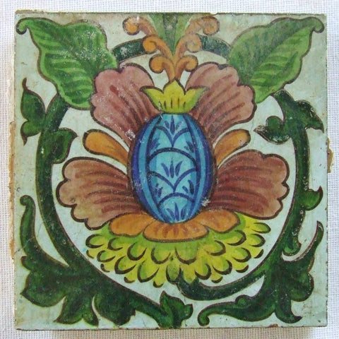 Vintage Antique Tile De Morgan Style Flower Spain Portugal