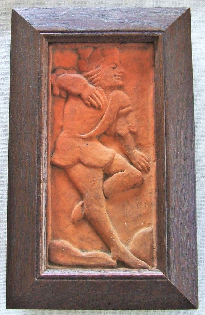 FRAMED ENFIELD POTTERY ARTS & CRAFTS TILE MORRICE DANCER MORAVIAN MERCER ERA