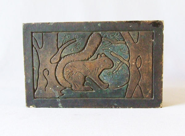 Decorated Stark Brick & Tile Squirrel In Tree Architectural Ceramic Antique