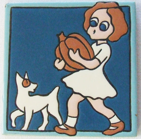 Vintage 1930-40 Mosaic Tile Company Girl and Pumpkin Cat Dog Arts & Crafts