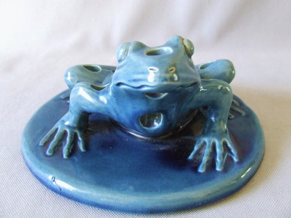 Large Blue Art Pottery Flower Frog Bullfrog on Lilypad