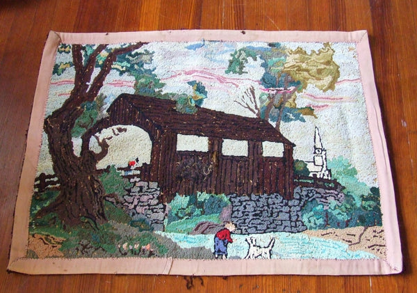 Old Covered Bridge Folk Art Hooked Throw Rug Primitive Country Cottage Antique